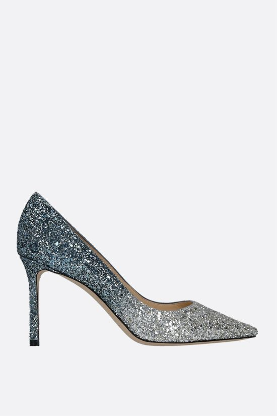 JIMMY CHOO: Romy degradè glitter fabric pumps Color Silver_1