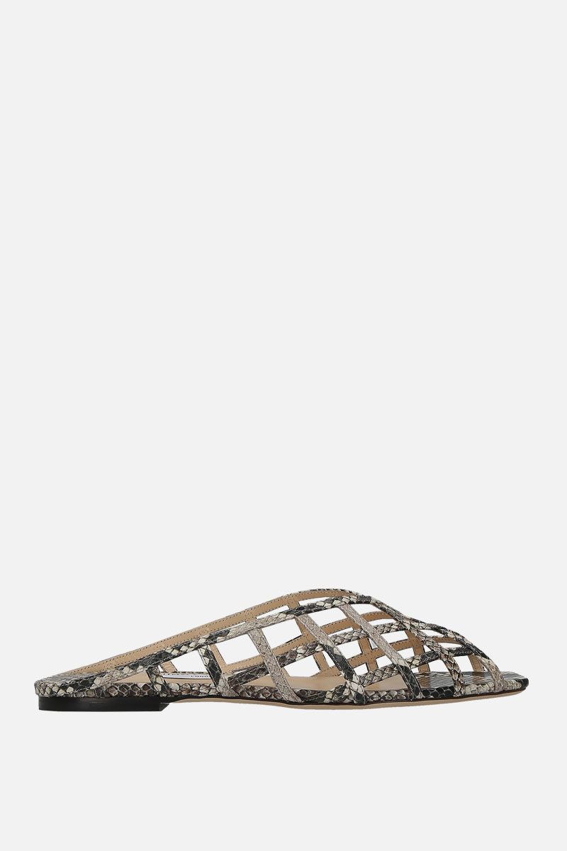 JIMMY CHOO: Sai flat sandals in snake-printed leather Color Neutral_1