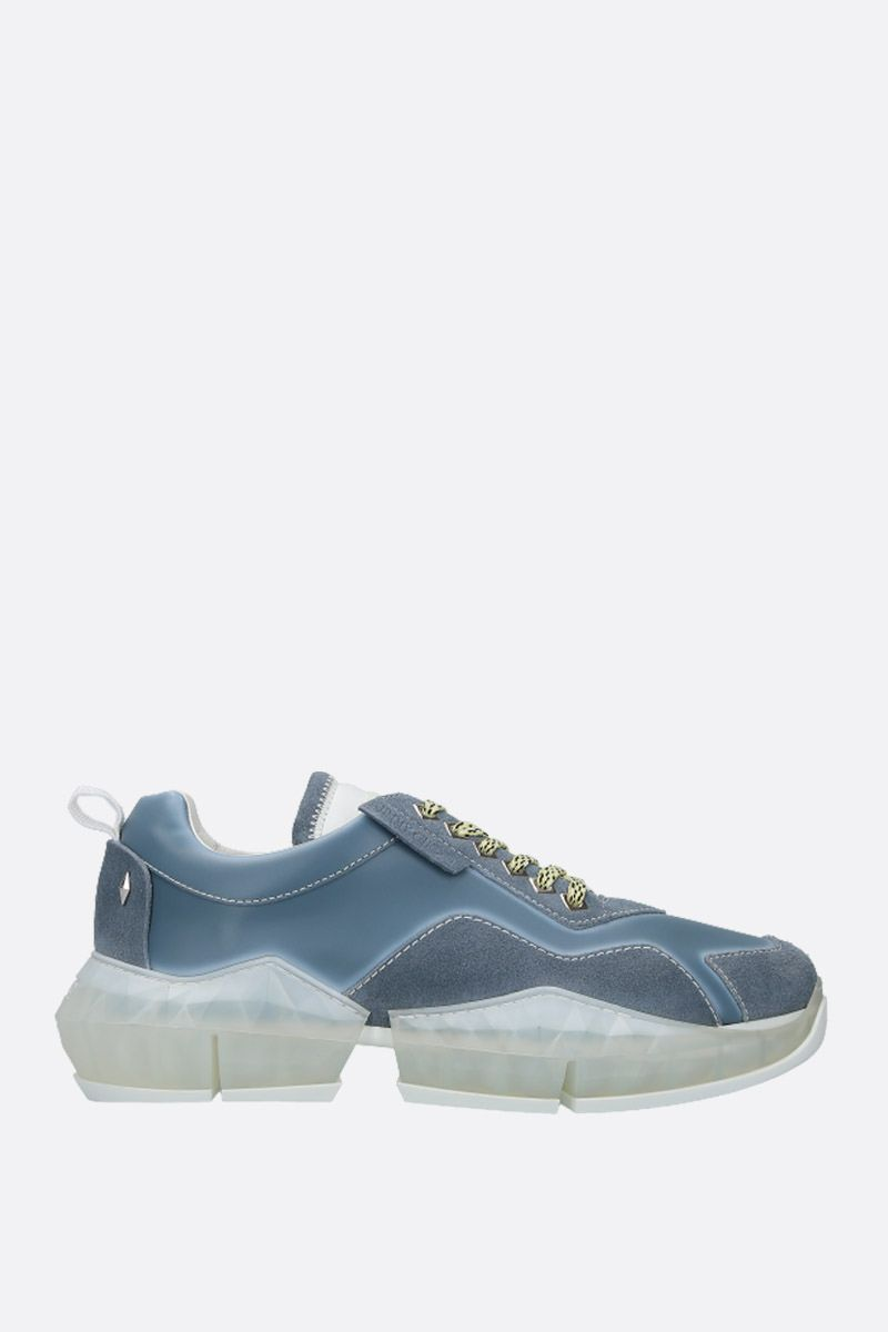 JIMMY CHOO: Diamond/M smooth leather and suede sneakers Color Blue_1