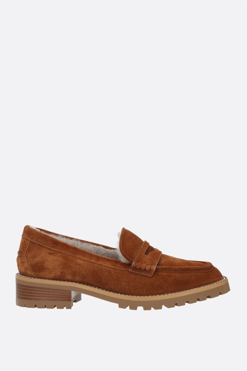 JIMMY CHOO: Deanna rhinestone-detailed suede loafers Color Brown_1