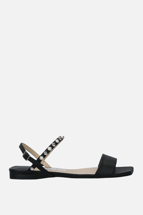 JIMMY CHOO: Aadra nappa flat sandals Color Black_1