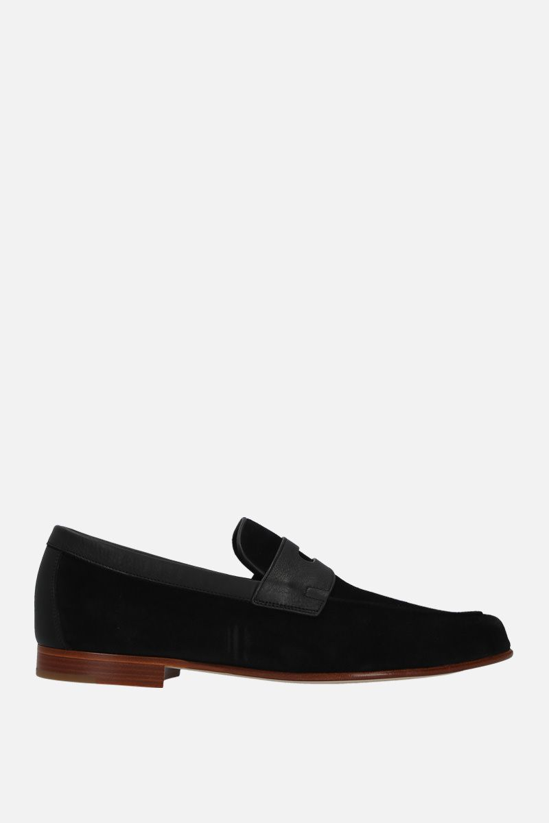 JOHN LOBB: Hendra suede loafers Color Black_1