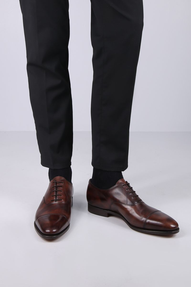 JOHN LOBB: City II shiny leather oxford shoes Color Brown_2