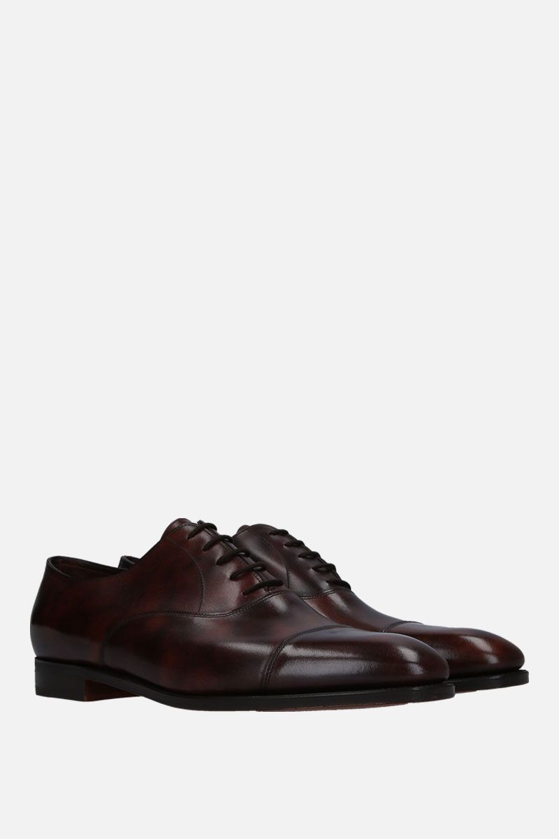 JOHN LOBB: City II shiny leather oxford shoes Color Brown_3