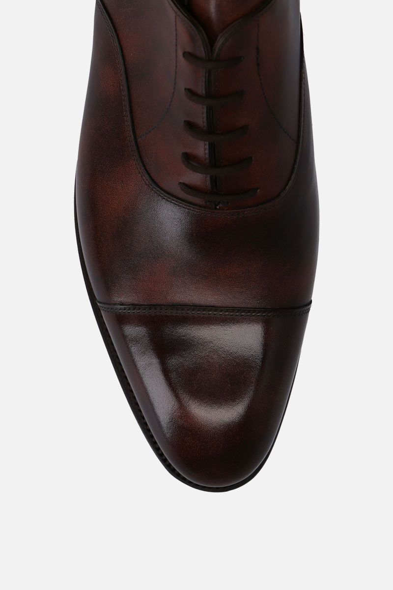 JOHN LOBB: City II shiny leather oxford shoes Color Brown_5