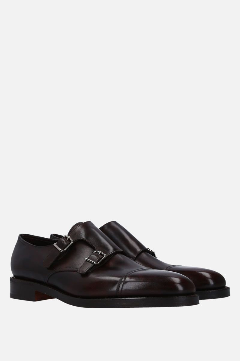 JOHN LOBB: William monk strap shoes in Museum leather Color Brown_2