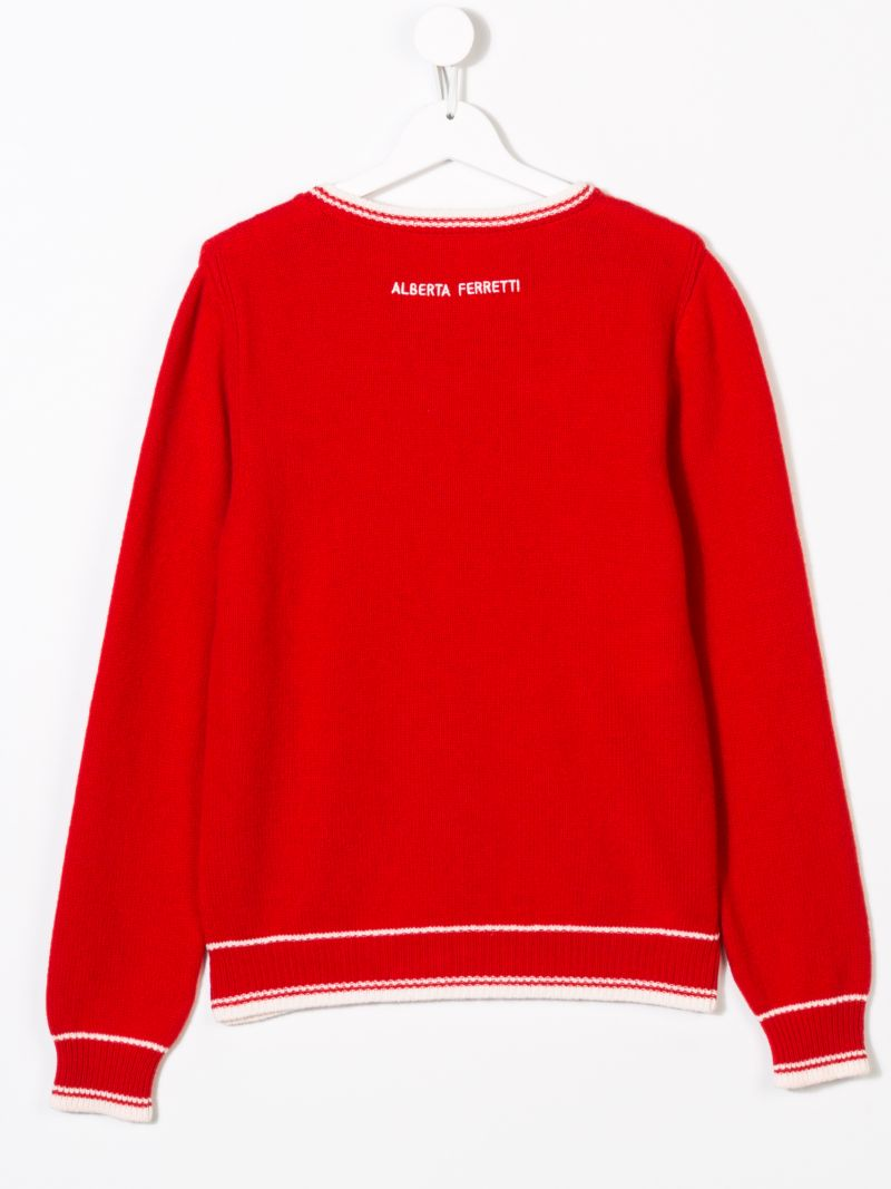 ALBERTA FERRETTI JUNIOR: Merry Christmas pullover in wool cashmere blend Color Red_2