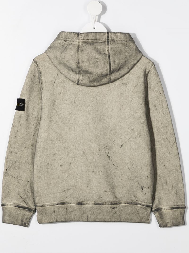 STONE ISLAND JUNIOR: logo badge-detailed cotton hoodie Color Neutral_2