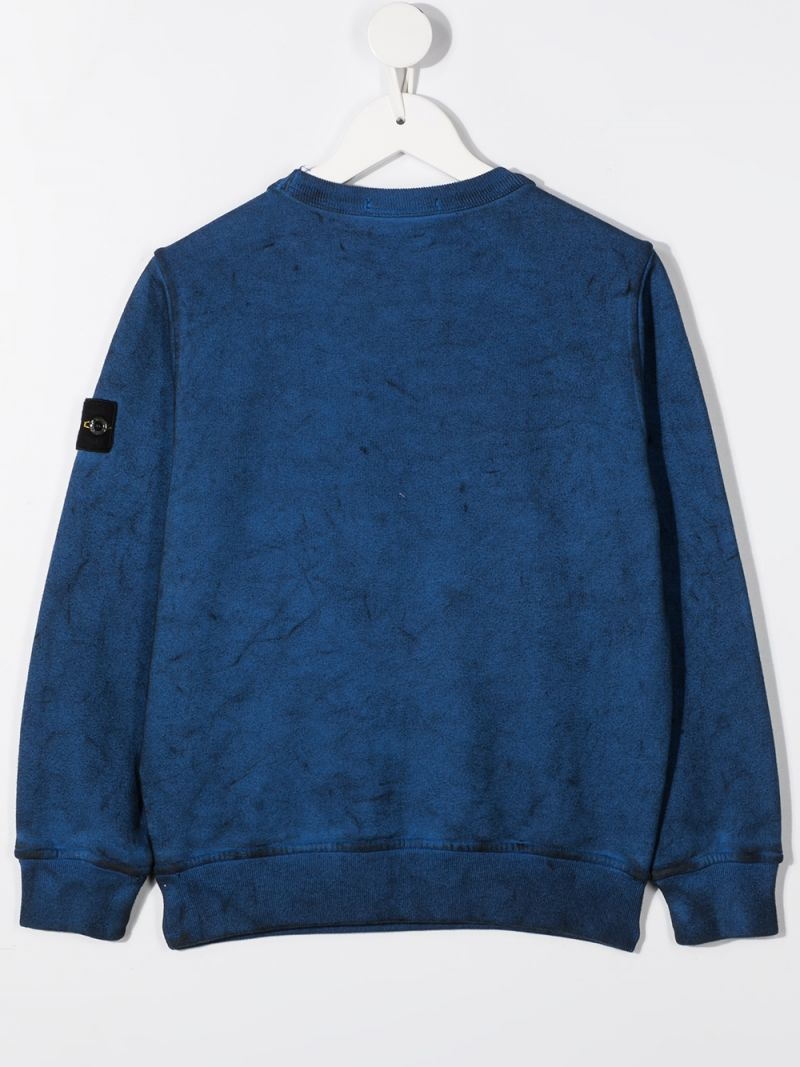 STONE ISLAND JUNIOR: logo badge-detailed cotton sweatshirt Color Blue_2