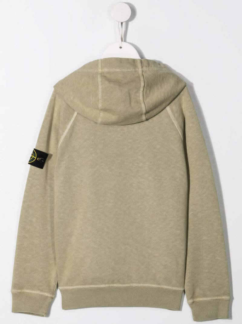 STONE ISLAND JUNIOR: logo patch cotton hoodie Color Brown_2