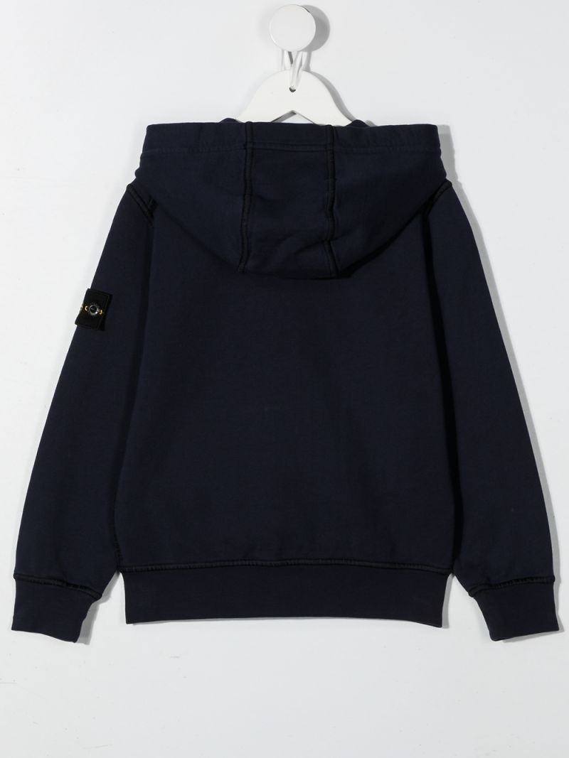 STONE ISLAND JUNIOR: logo badge-detailed cotton full-zip hoodie Color Blue_2