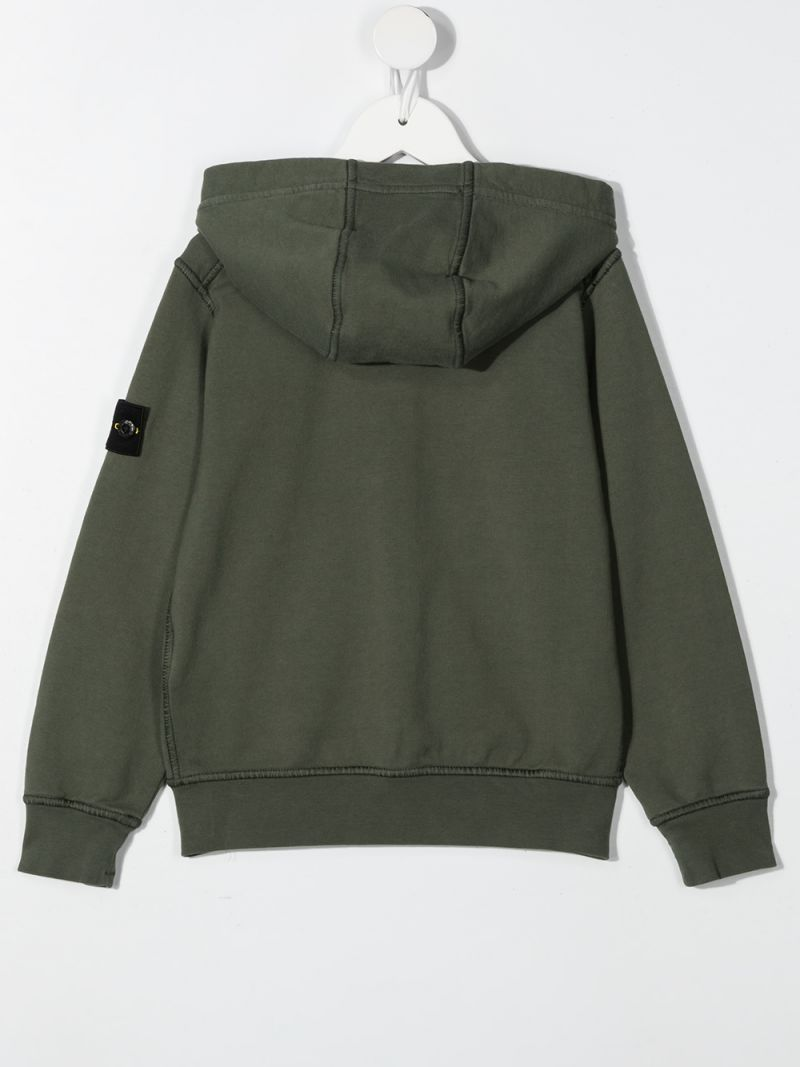 STONE ISLAND JUNIOR: logo badge-detailed cotton full-zip hoodie Color Multicolor_2