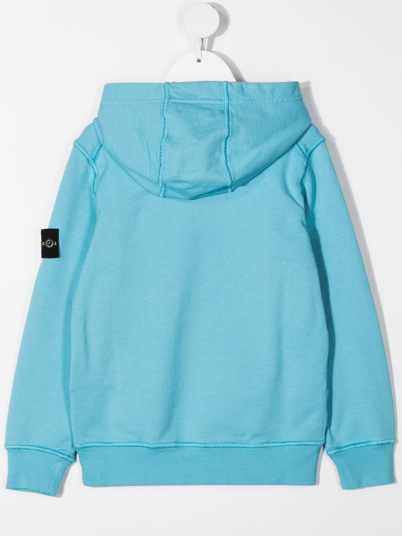 STONE ISLAND JUNIOR: logo badge-detailed cotton hoodie Color Blue_2