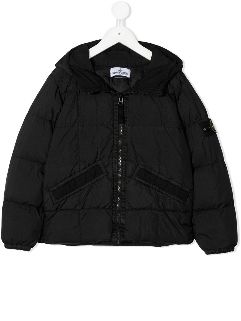 STONE ISLAND JUNIOR: logo badge-detailed nylon down jacket Color Black_1