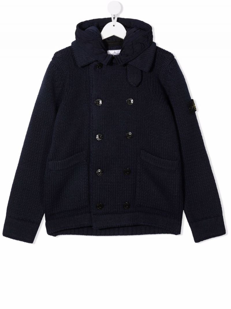 STONE ISLAND JUNIOR: knitted hooded jacket Color Blue_1