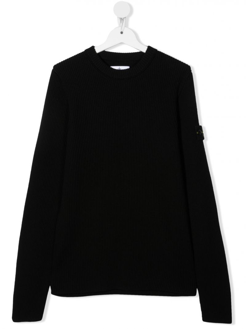 STONE ISLAND JUNIOR: logo badge-detailed ribbed wool pullover Color Black_1