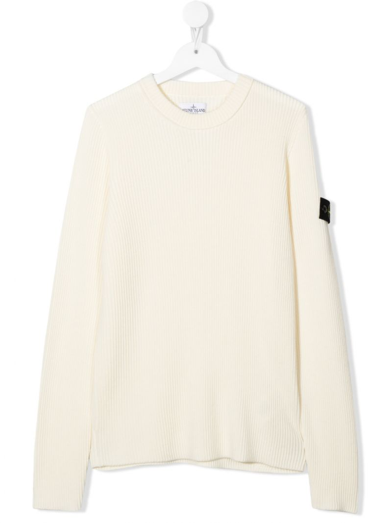 STONE ISLAND JUNIOR: logo badge-detailed ribbed wool pullover Color Neutral_1