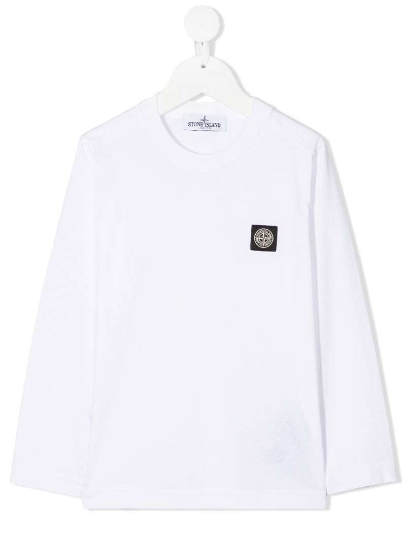 STONE ISLAND JUNIOR: logo patch cotton long-sleeved t-shirt Color White_1