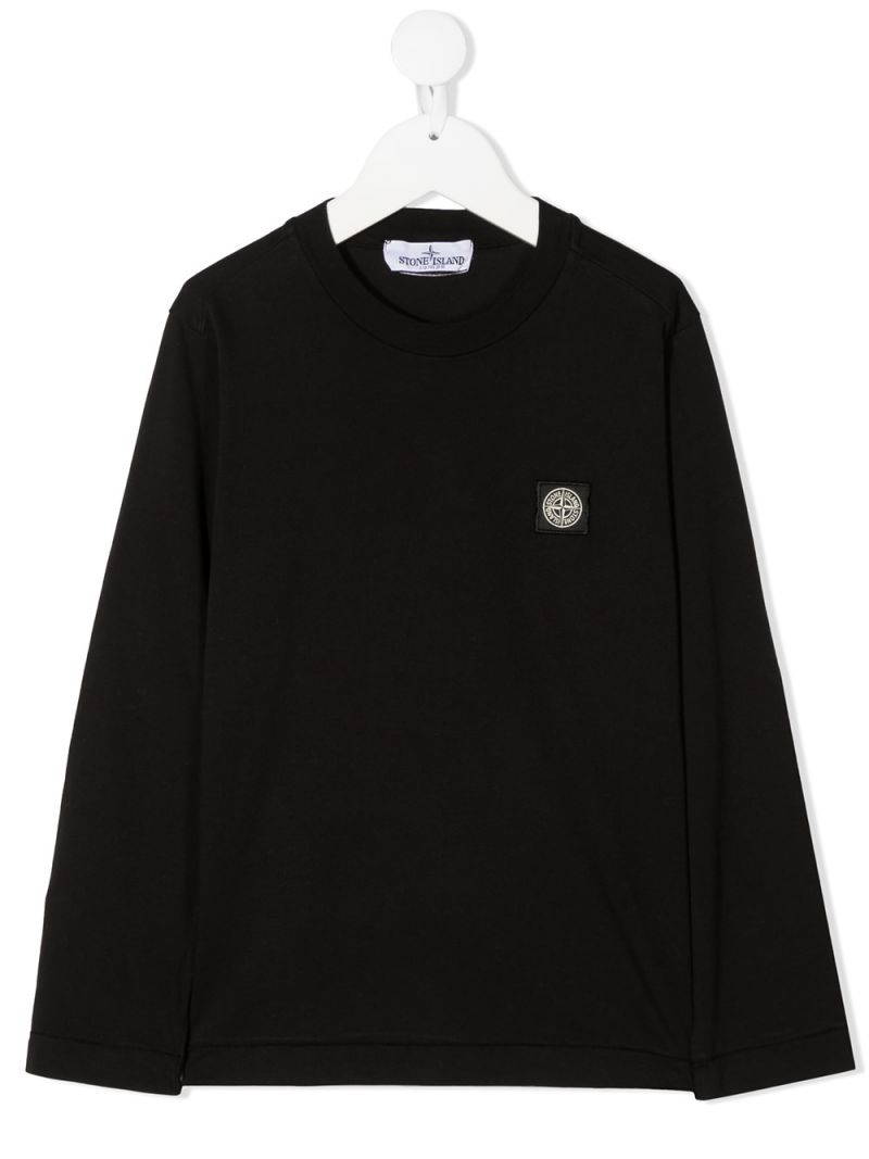 STONE ISLAND JUNIOR: logo patch cotton long-sleeved t-shirt Color Black_1
