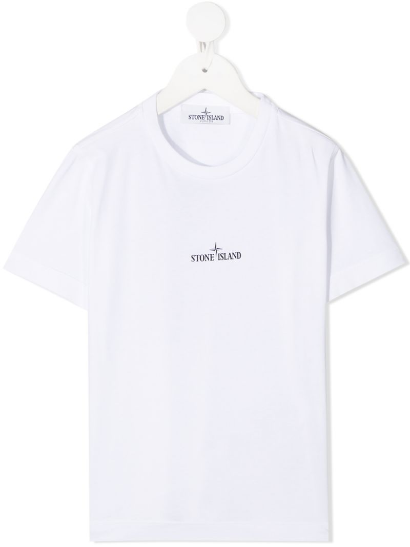 STONE ISLAND JUNIOR: graphic print cotton t-shirt Color White_1