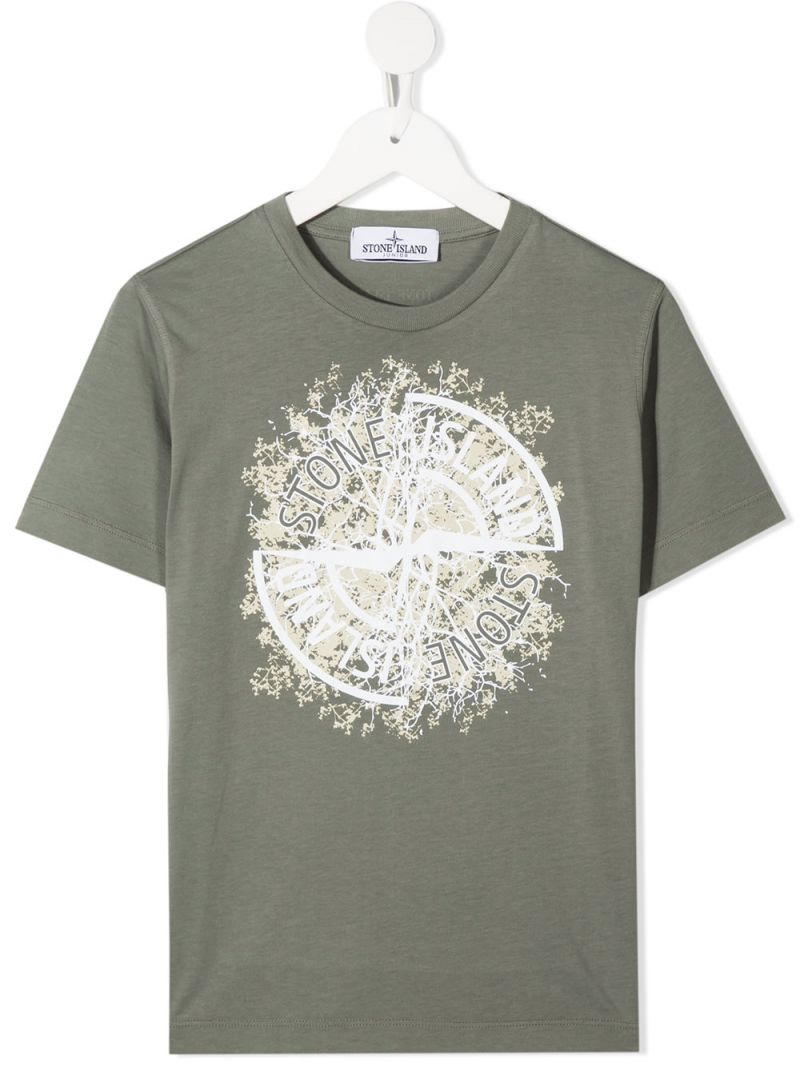 STONE ISLAND JUNIOR: graphic logo print cotton t-shirt Color Neutral_1