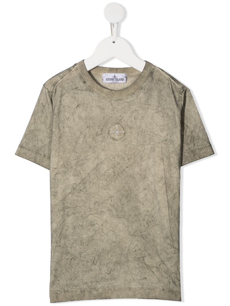 STONE ISLAND JUNIOR: logo print cotton t-shirt Color Neutral_1