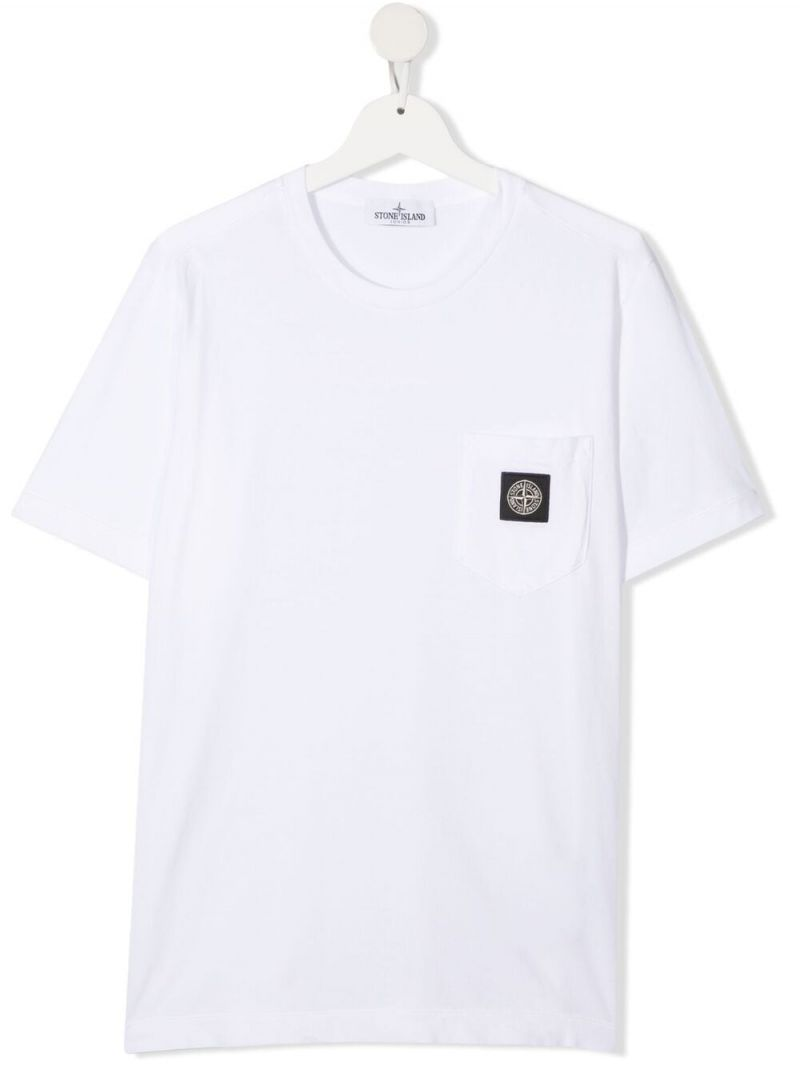 STONE ISLAND JUNIOR: logo patch cotton t-shirt Color White_1