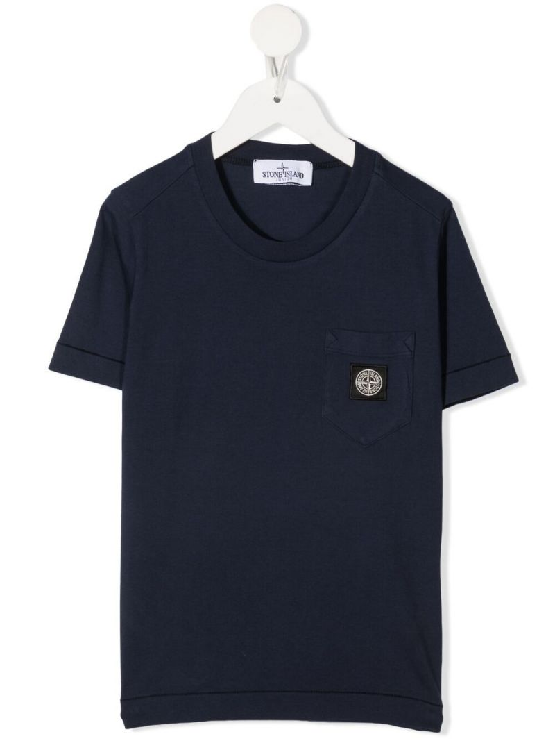 STONE ISLAND JUNIOR: logo patch cotton t-shirt Color Blue_1