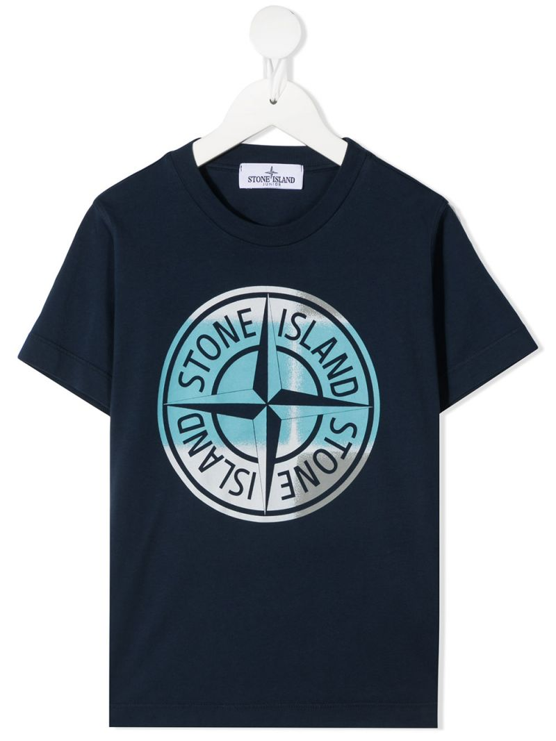 STONE ISLAND JUNIOR: logo print cotton t-shirt Color Blue_1