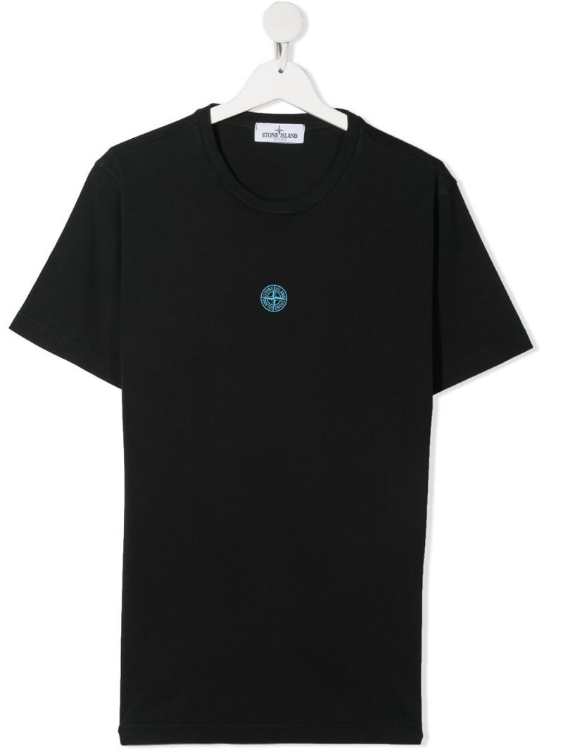 STONE ISLAND JUNIOR: graphic logo print cotton t-shirt Color Black_1