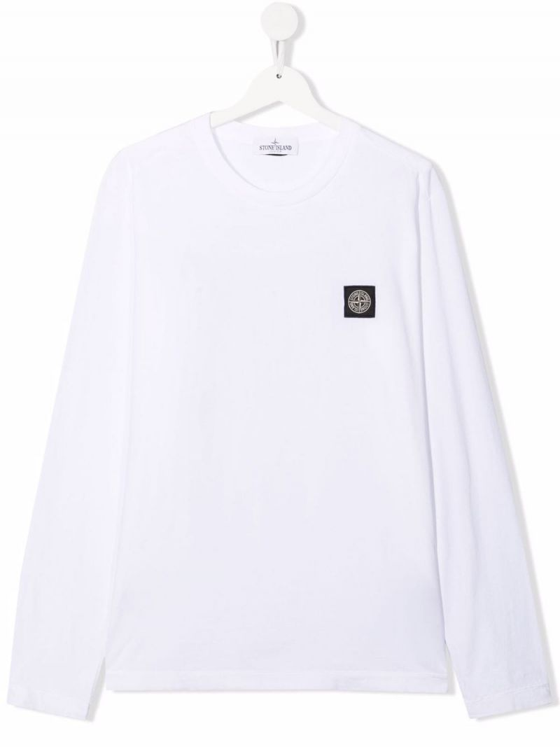 STONE ISLAND JUNIOR: logo patch long-sleeved cotton t-shirt Color White_1