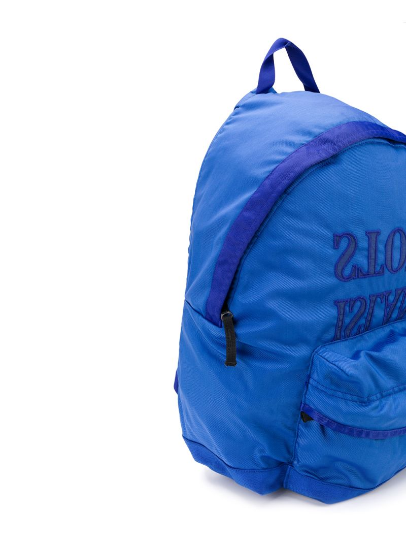 STONE ISLAND JUNIOR: logo embroidered nylon backpack Color Purple_2