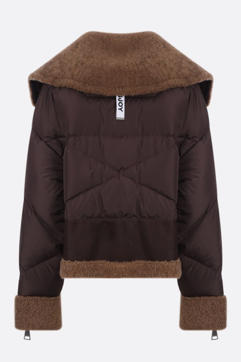 KHRISJOY: Aviator For Real jacket in shearling and padded nylon Color Brown_2