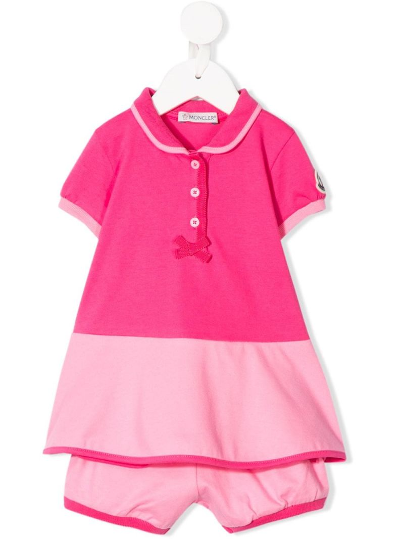 MONCLER KIDS: stretch piquet dress with bloomers Color Pink_1