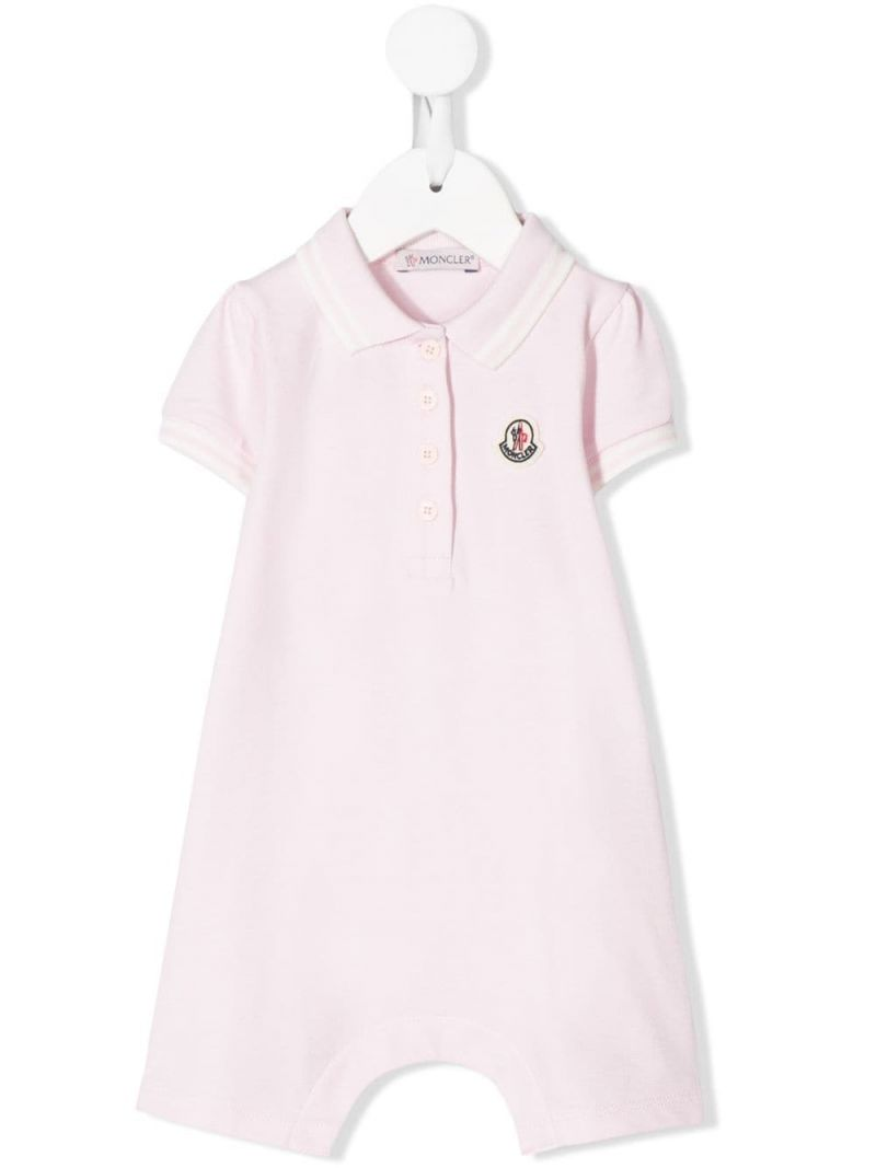 MONCLER KIDS: logo patch stretch cotton playsuit Color Pink_1
