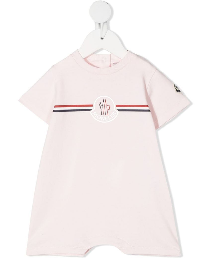 MONCLER KIDS: logo print cotton playsuit Color Pink_1