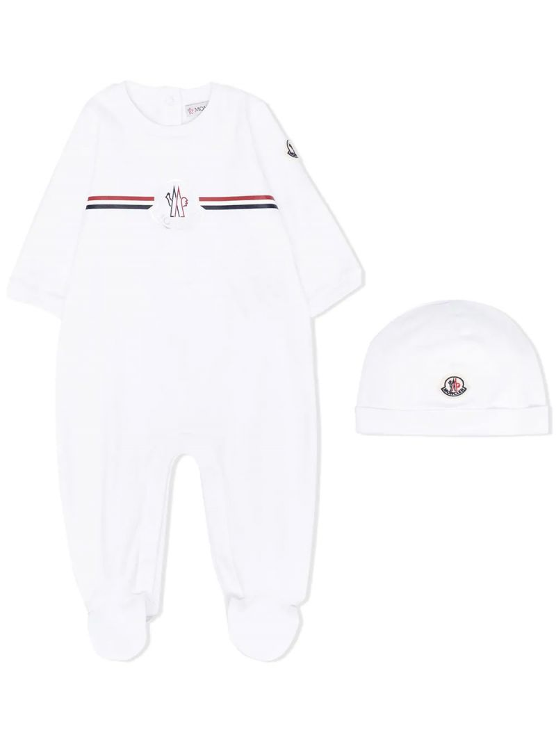 MONCLER KIDS: logo print cotton babygrow and beanie Color White_1