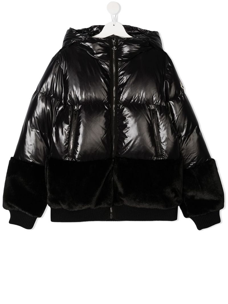 MONCLER KIDS: Logodec laquè nylon down jacket Color Black_1