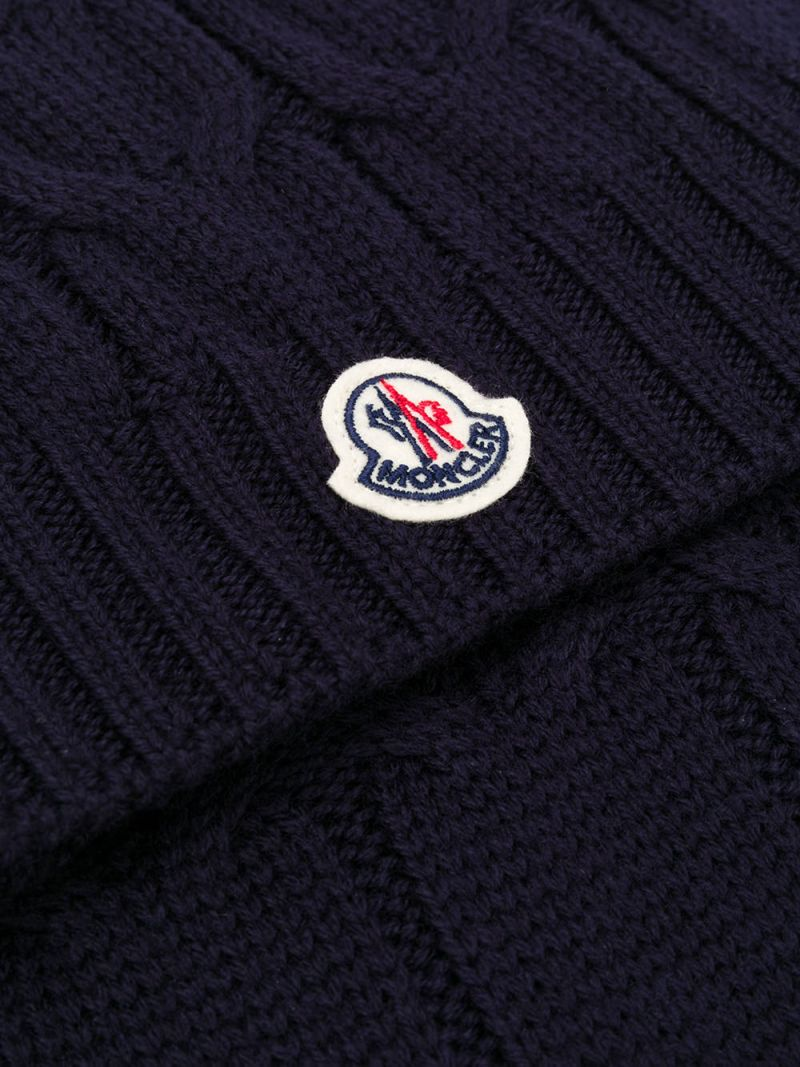 MONCLER KIDS: logo patch wool cable-knit scarf Color Blue_2