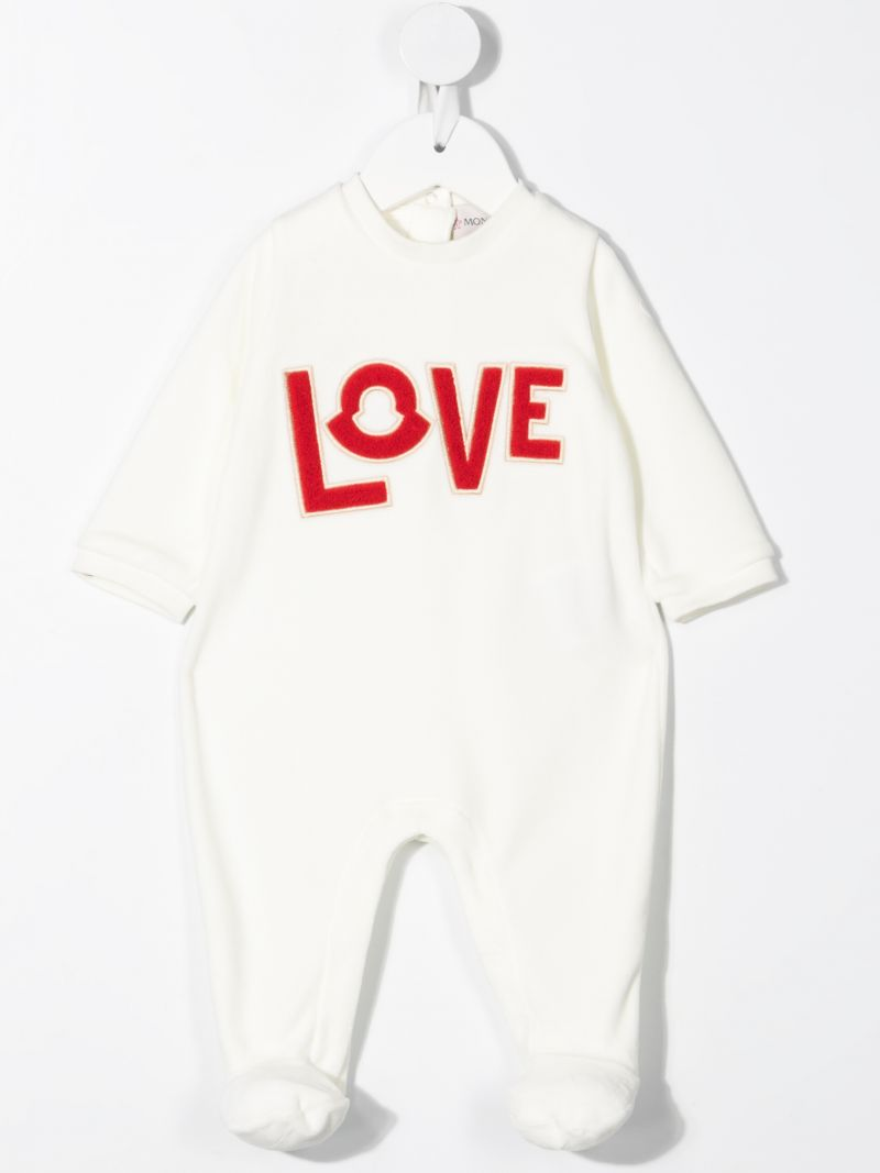MONCLER KIDS: Love patch cotton babygrow and beanie Color White_2
