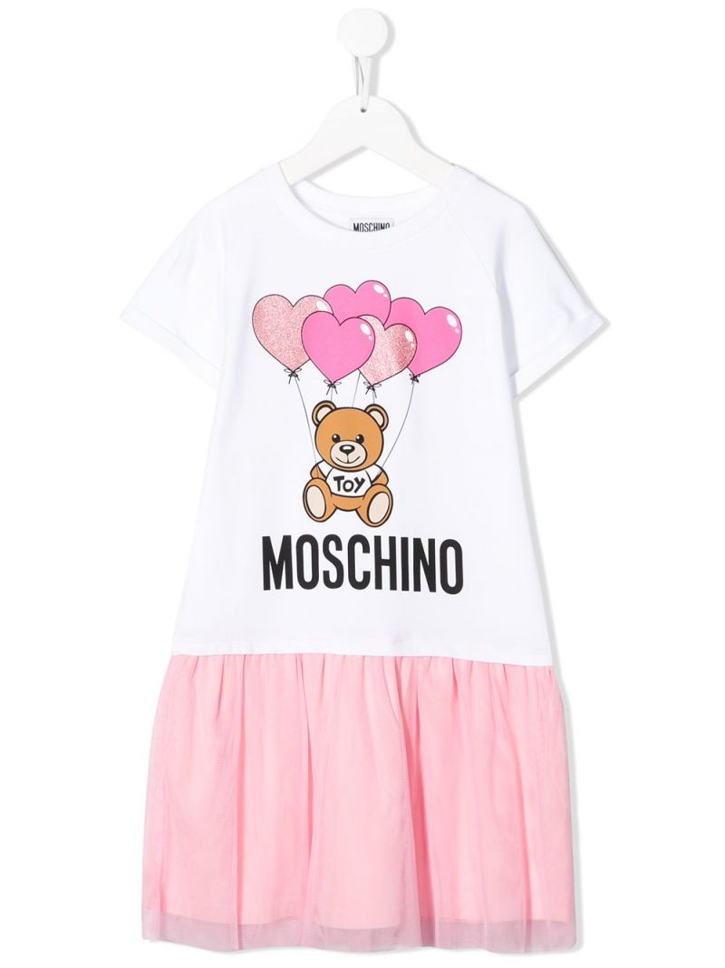 MOSCHINO KIDS: Heart Balloons Teddy Bear stretch cotton and tulle dress Color White_1