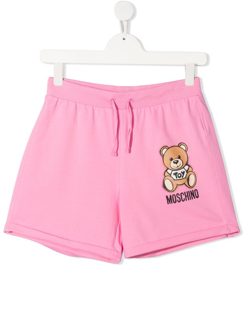 MOSCHINO KIDS: Spray Teddy Bear stretch cotton shorts Color Pink_1