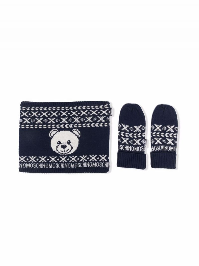 MOSCHINO KIDS: wool blend scarf and mittens set Color Blue_1