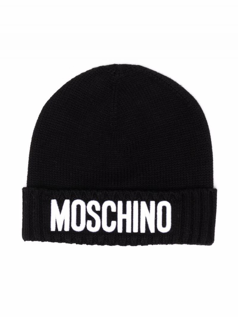 MOSCHINO KIDS: logo patch wool blend beanie Color Black_1