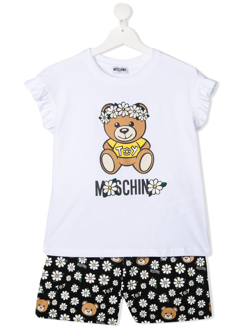 MOSCHINO KIDS: Daisy Teddy Bear stretch cotton t-shirt and shorts set Color Black_1