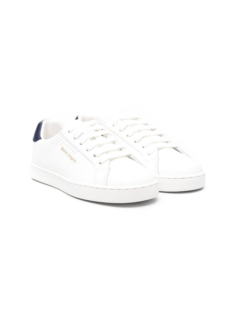 PALM ANGELS KIDS: Palm One smooth leather sneakers Color Blue_1