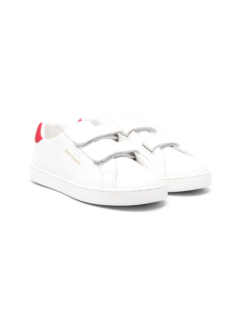 PALM ANGELS KIDS: Palm One smooth leather sneakers Color White_1