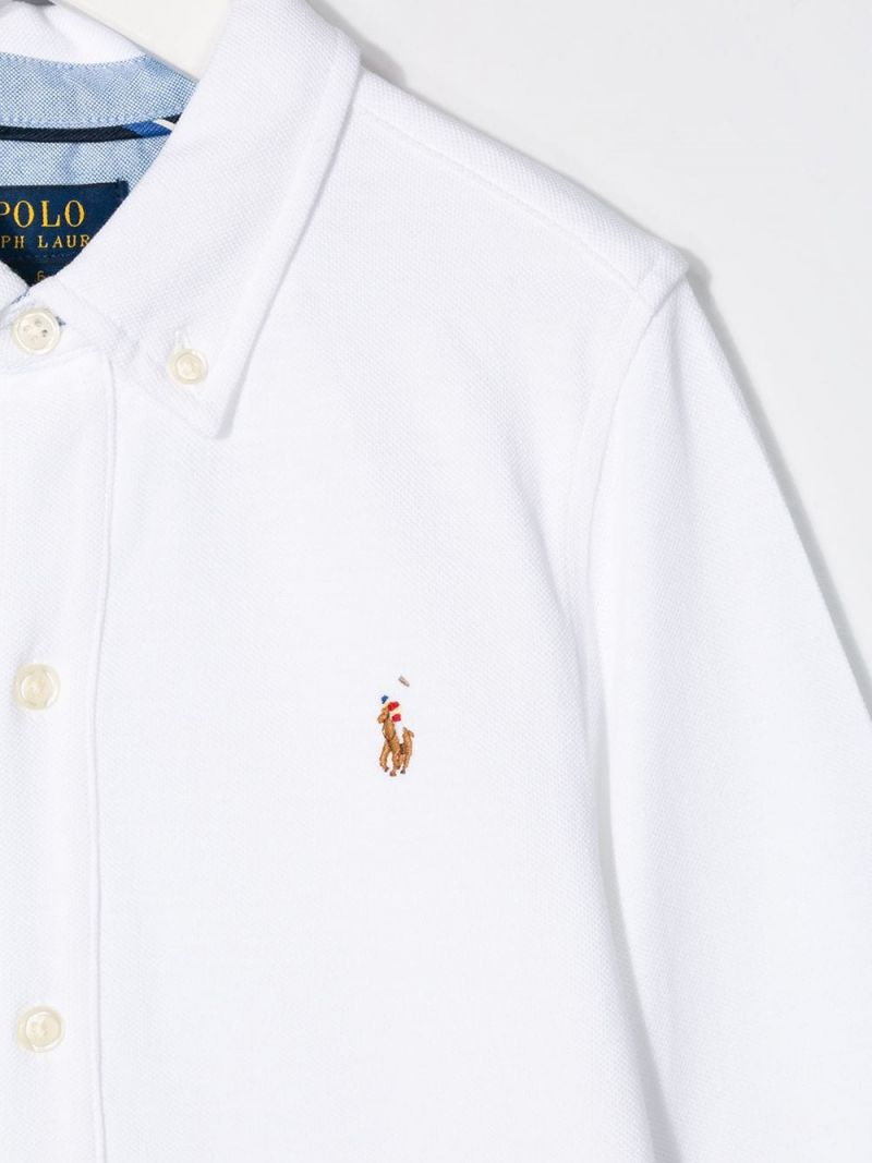 RALPH LAUREN KIDS: Pony embroidered cotton shirt Color White_3