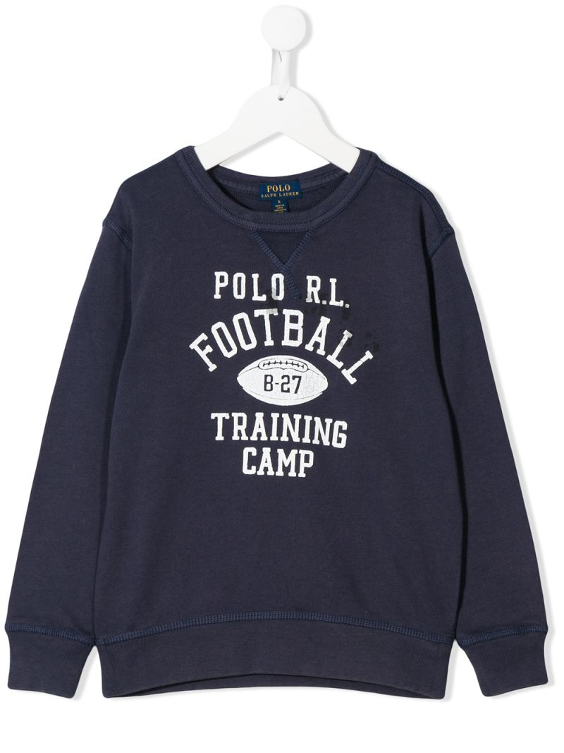 RALPH LAUREN KIDS: Polo R.L. Football print cotton sweatshirt Color Blue_1