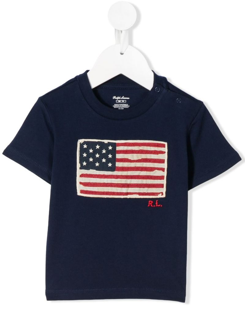 RALPH LAUREN KIDS: American Flag patch cotton t-shirt Color Blue_1